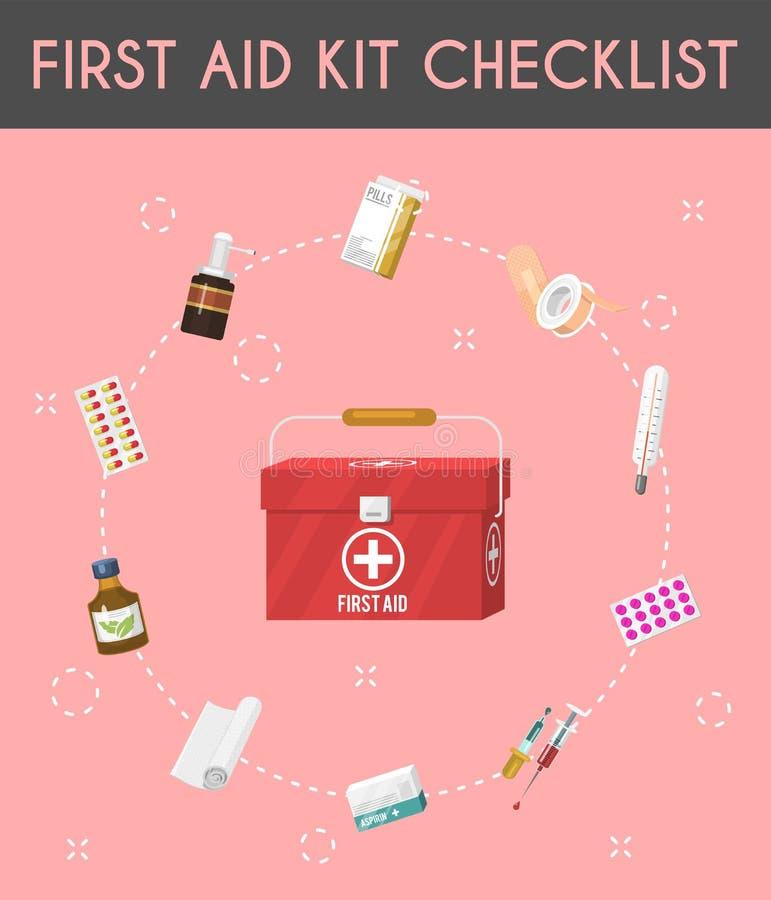 Ausrüstungskarikaturchecklisten-Vektorillustration der ersten Hilfe Medizinische Ausrüstung und Pillen für Patienten Gesundheitsw vektor abbildung