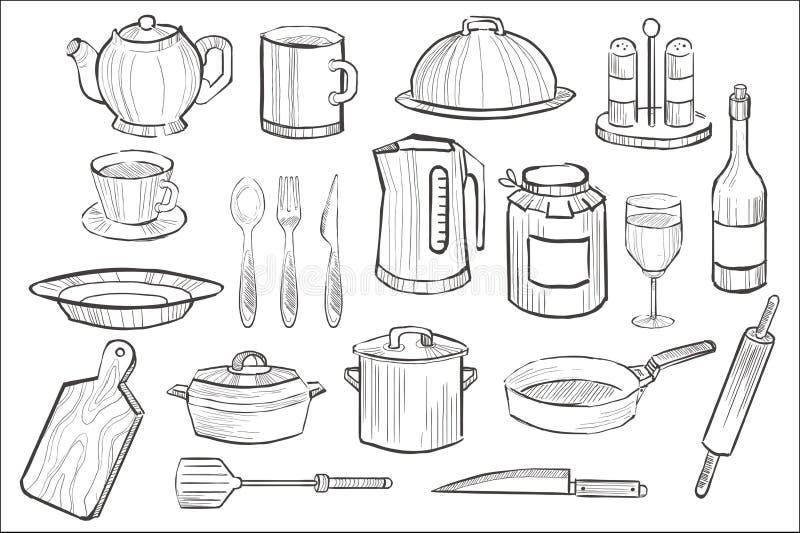 Ausrüstungssatz kochend, übergeben Küchengerätikonen gezogene Vektorillustration lizenzfreie abbildung