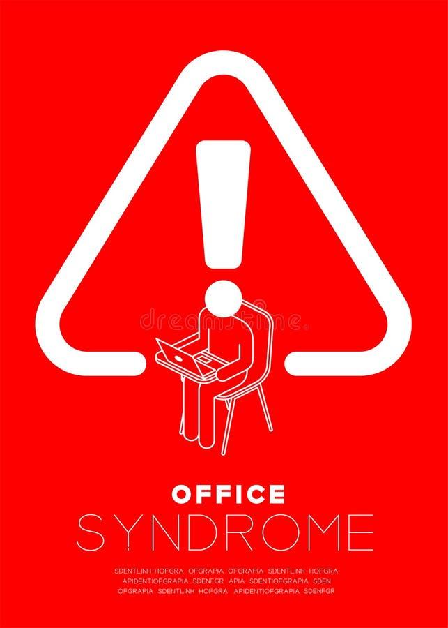 Ausrufezeichen mit Mannikonenpiktogramm und weißer Farbe des Laptops, passen Bürosyndrom-Konzeptdesignillustration auf lizenzfreie abbildung
