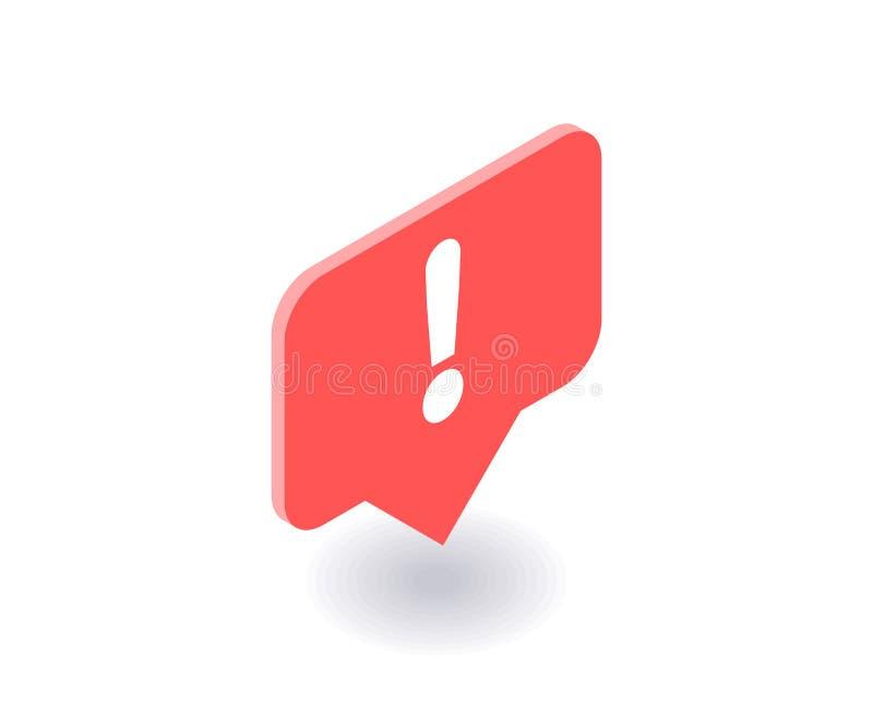 Ausrufezeichenikone, Vektorsymbol in der flachen isometrischen Art 3D lokalisiert auf weißem Hintergrund Social Media-Illustratio stock abbildung