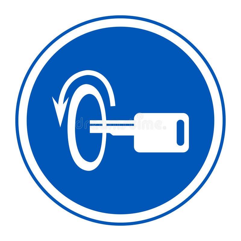 Ausschaltungs- Maschinen-Symbol-Zeichen-Isolat auf weißem Hintergrund, Vektor-Illustration ENV 10 stock abbildung