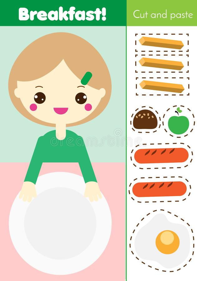 Ausschneiden und einfügen-Kinderlernspiel Papierausschnitttätigkeit Machen Sie eine Frühstücksnahrung mit Kleber DIY-Arbeitsblatt lizenzfreie abbildung