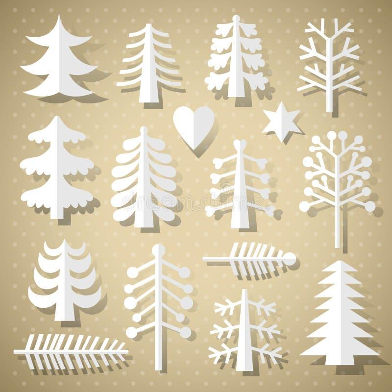 Ausschnitt-Weihnachtsbäume des Weißbuches lizenzfreie abbildung