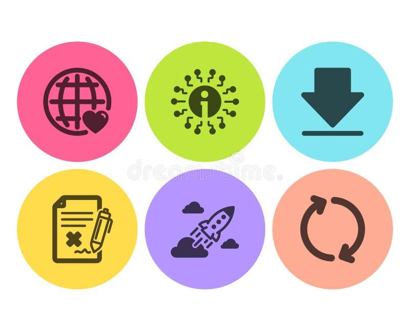 Ausschussdatei, internationale Liebe und Startraketenikonensatz Informationen, Downloading und Zeichen erneuern Vektor lizenzfreie abbildung