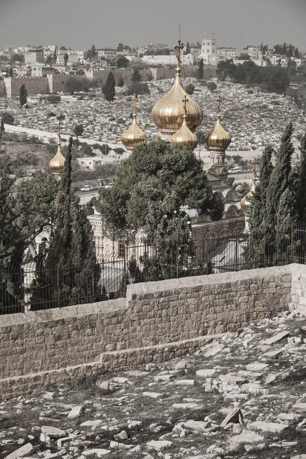 Aussicht auf die Altstadt von Jerusalem vom Berg der Oliven, Israel lizenzfreie stockbilder