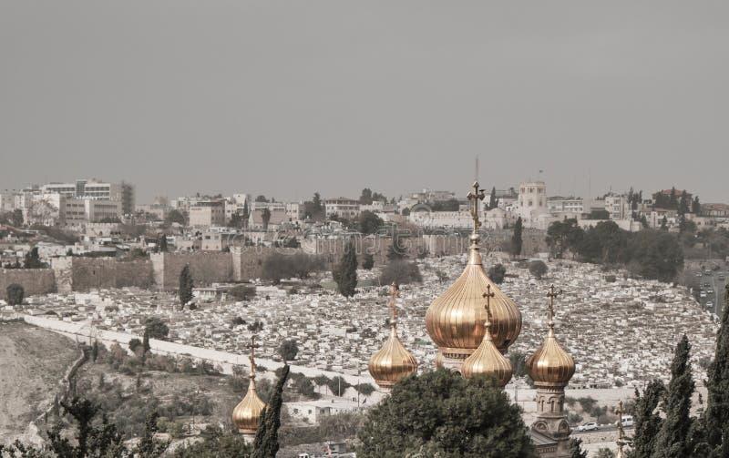 Aussicht auf die Altstadt von Jerusalem vom Berg der Oliven, Israel stockbilder