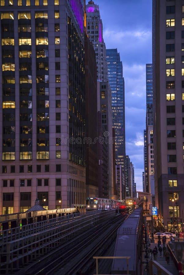 Aussicht auf die ikonische Architektur in Downtown, Chicago, Illinois, USA stockbilder