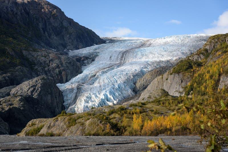 Aussicht auf Exit Glacier, Harding Ice Field, Kenai Fjords National Park, Seward, Alaska, Vereinigte Staaten stockfotografie