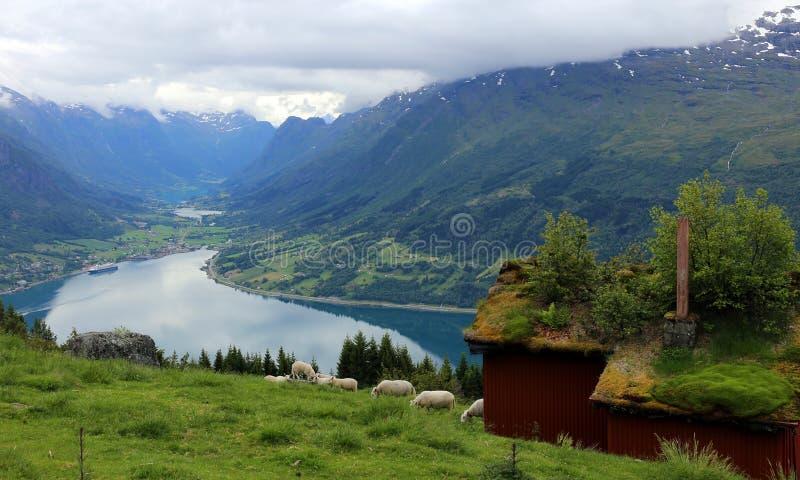 Aussicht auf Olden und Nordfjord von Raksseter stockbild