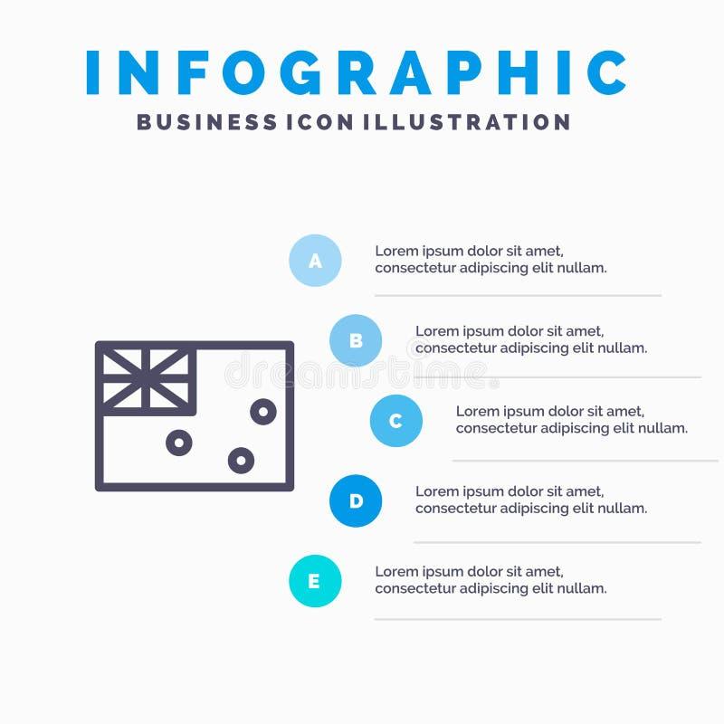 Aussie, Australië, Land, het pictogram van de Vlaglijn met infographicsachtergrond van de 5 stappenpresentatie stock illustratie