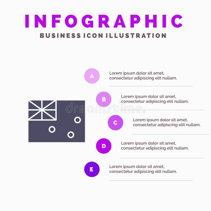 Aussie, Australië, Land, Vlag Stevig Pictogram Infographics 5 de Achtergrond van de Stappenpresentatie vector illustratie