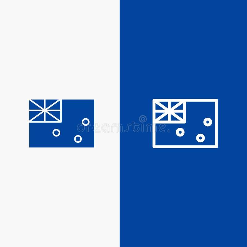 Aussie, Australië, Land, Vlaglijn en Lijn van de het pictogram Blauwe banner van Glyph de Stevige en Stevige het pictogram Blauwe vector illustratie