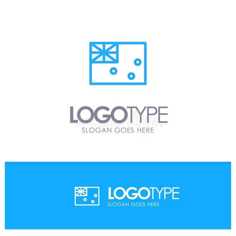 Aussie, Australia, Country, Flag Blue Outline Logo Place for Tagline stock illustration