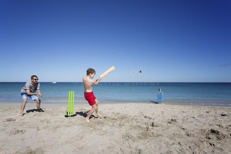 Aussie Beach Cricket stock photos