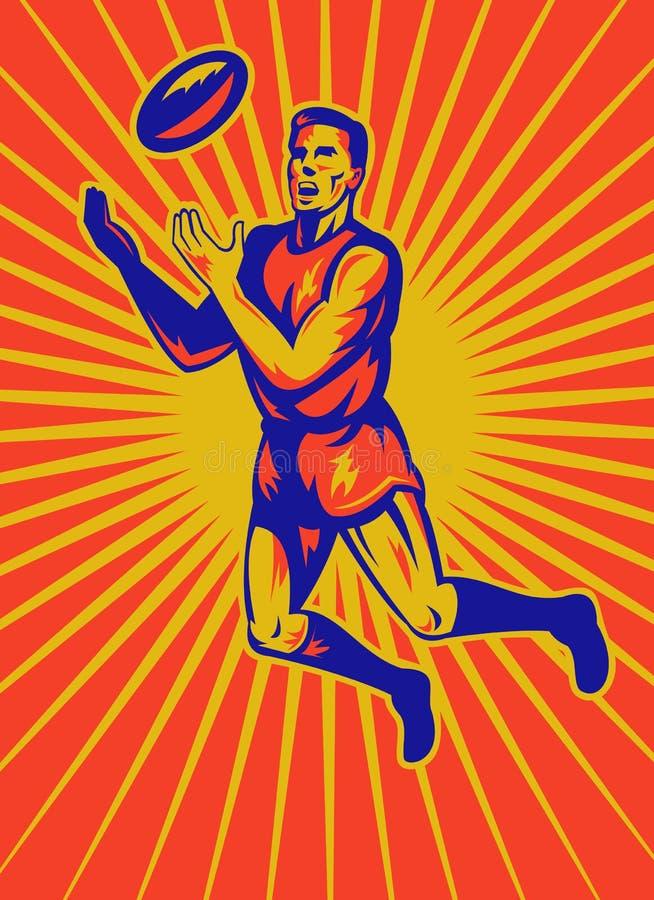 Aussie beslist speler het springen vangend bal stock illustratie