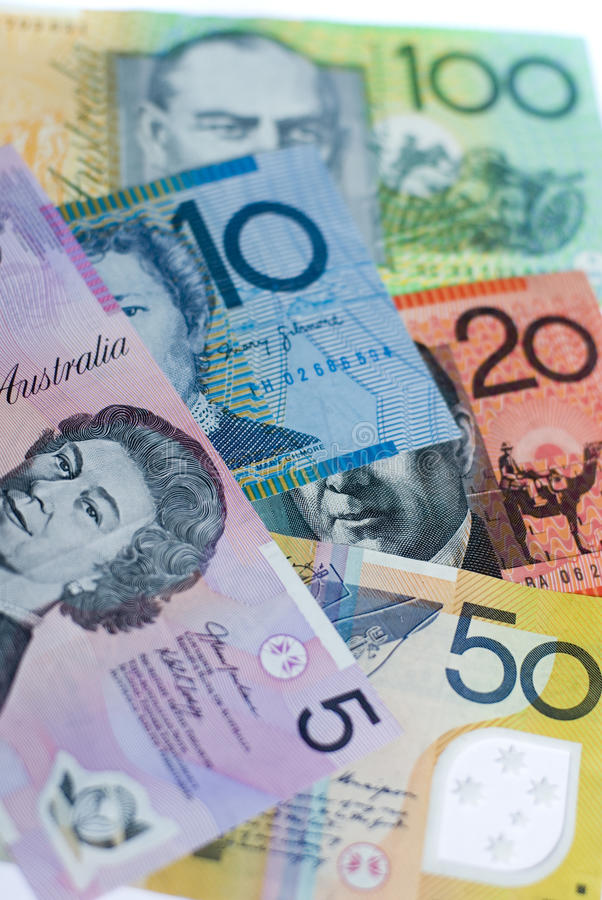 Aussie cash. 5 different denominations of australian bank notes stock photography