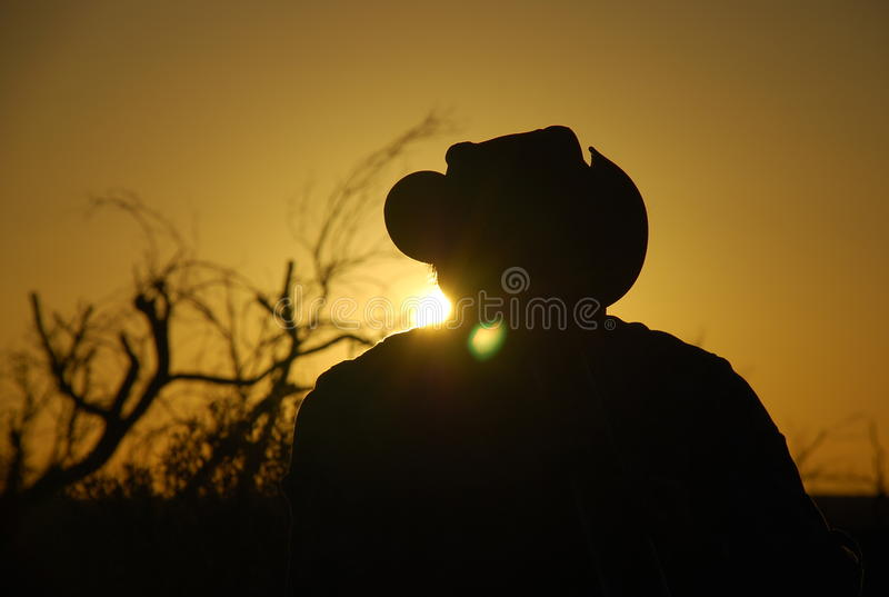 Drover's profile on backlight stock photos