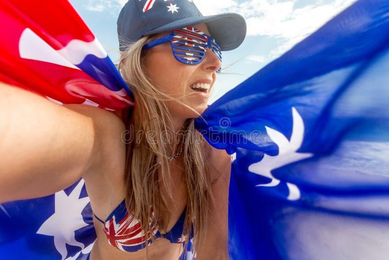 Aussie fan zwolennik lub Australia dnia świętowanie fotografia royalty free