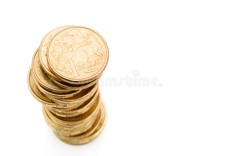 Aussie One Dollar Coins royalty free stock photography