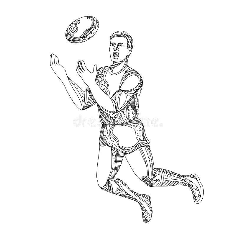 Aussie reguła gracza futbolu doskakiwania Doodle ilustracja wektor