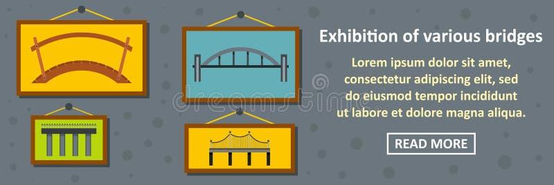 Ausstellung des horizontalen Konzeptes der verschiedenen Brückenfahne lizenzfreie abbildung