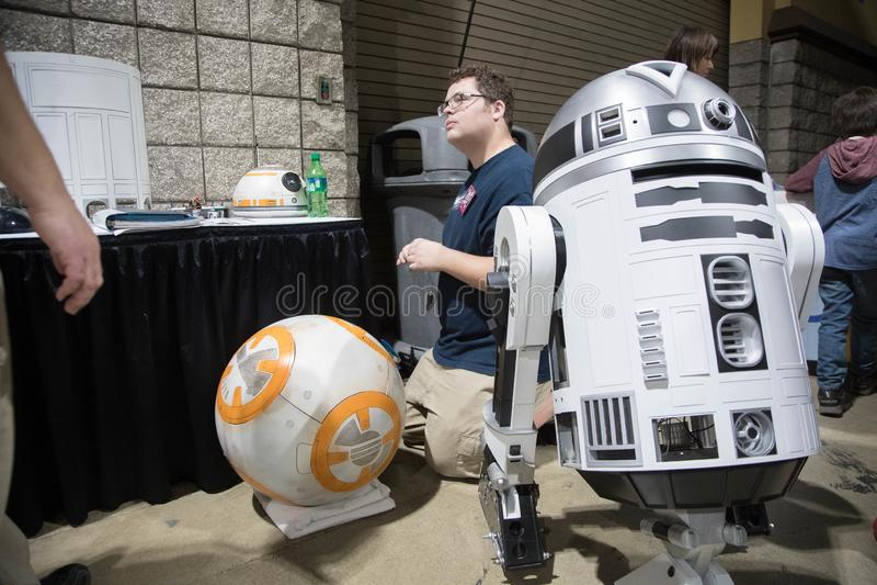 Ausstellung Long Beach s komischer Droid-Erbauer 2 lizenzfreie stockfotografie