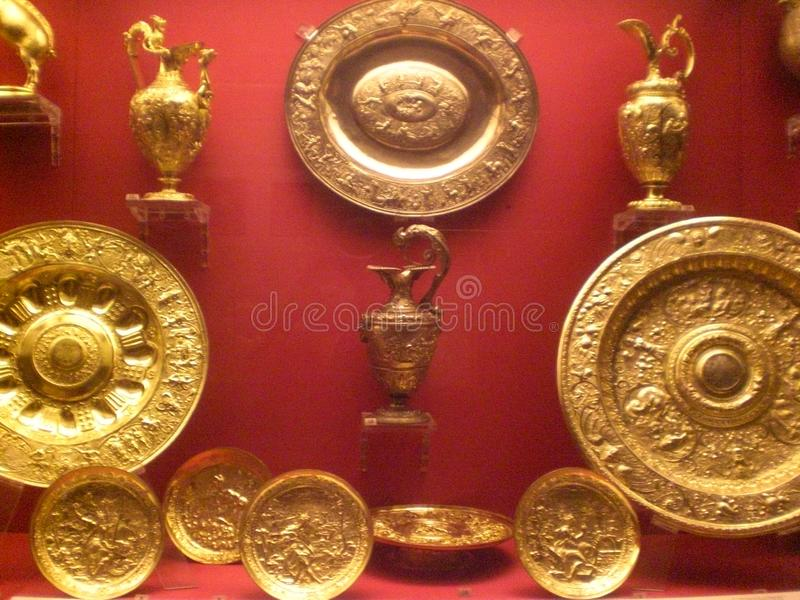 Ausstellung von Goldeinzelteilen von British Museum in London England Europa stockfotos