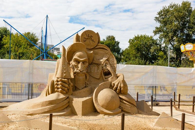 Ausstellung von Sandskulpturen stockbilder