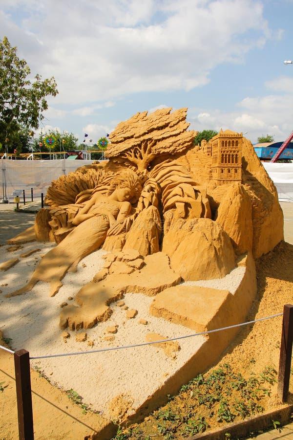 Ausstellung von Sandskulpturen lizenzfreie stockbilder