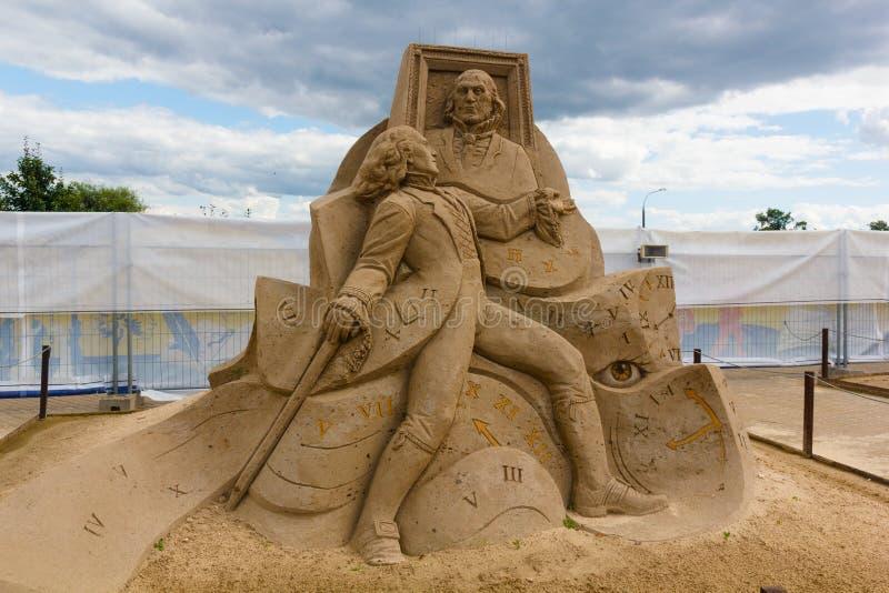 Ausstellung von Sandskulpturen stockfotografie