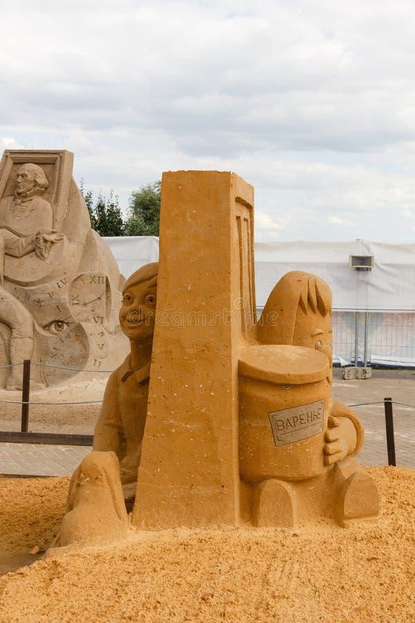 Ausstellung von Sandskulpturen lizenzfreie stockfotos