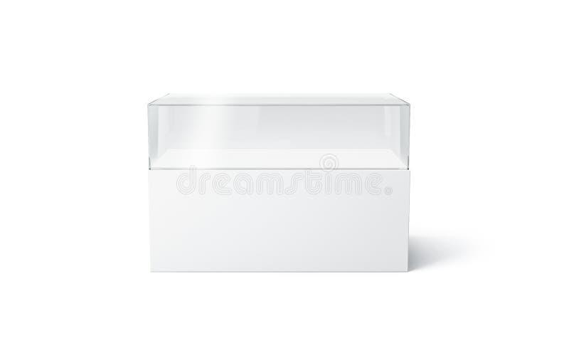 AUSSTELLUNGS-Schaukastenspott des freien Raumes weißer Glasoben, lokalisiert lizenzfreie abbildung