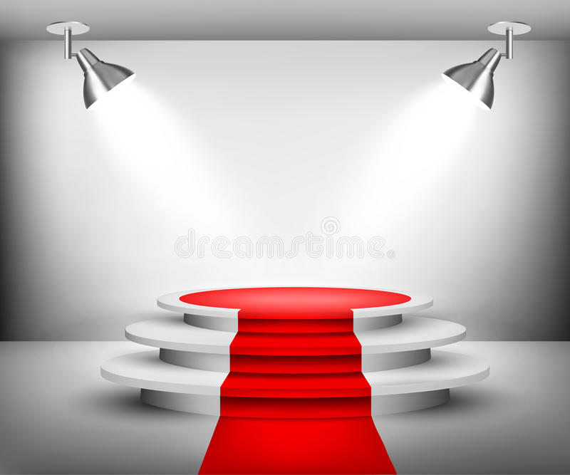 Ausstellungsraum mit rotem Teppich lizenzfreie abbildung
