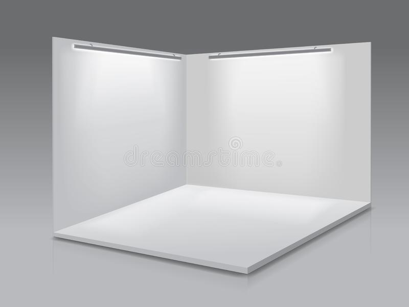 Ausstellungsstand der leeren Anzeige Weiße leere Platten, Podium für Darstellungen auf dem grauen Hintergrund 3d stock abbildung