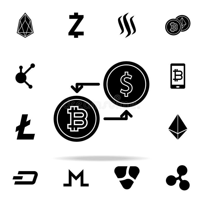 Austausch bitcoin Ikone Schlüsselwährungsikonen-Universalsatz für Netz und Mobile lizenzfreie abbildung