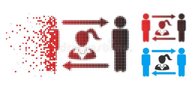 Austausch-Frauen-Ikone der defektes Pixel-Halbtonlebenslustigen typen stock abbildung
