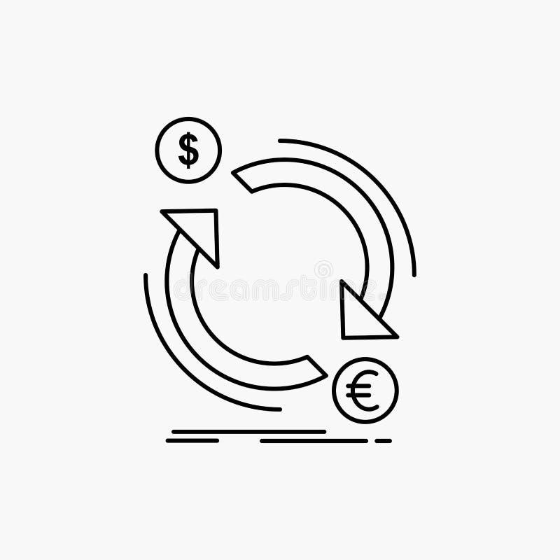Austausch, Währung, Finanzierung, Geld, Bekehrte Linie Ikone Vektor lokalisierte Illustration vektor abbildung