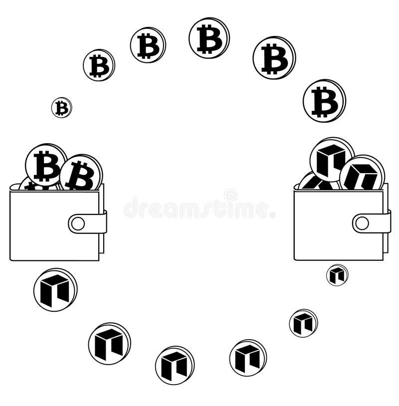 Austausch zwischen bitcoin und Neo in der Geldbörse lizenzfreie abbildung