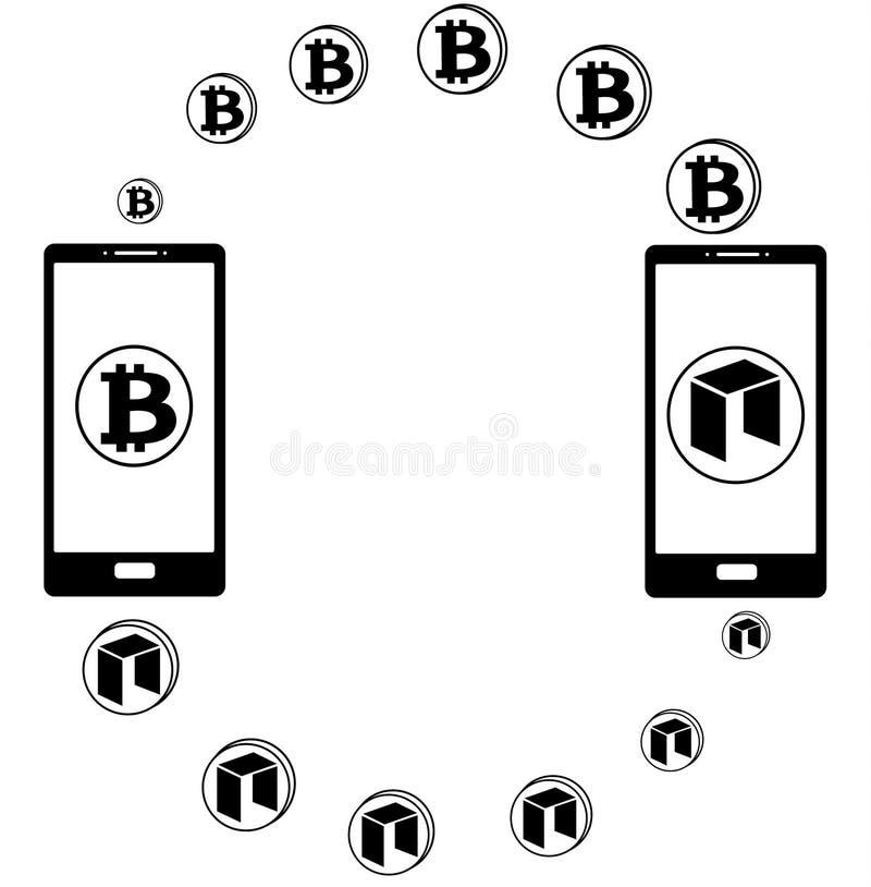 Austausch zwischen bitcoin und Neo im Telefon lizenzfreie abbildung