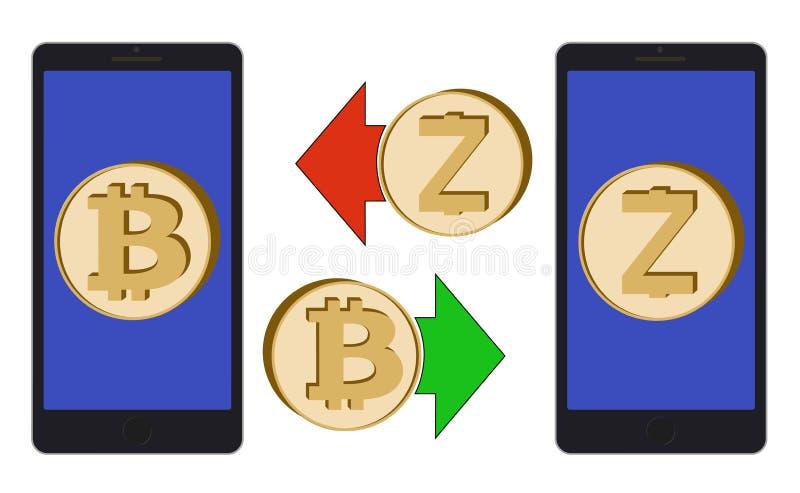 Austausch zwischen bitcoin und zcash im Telefon lizenzfreie abbildung