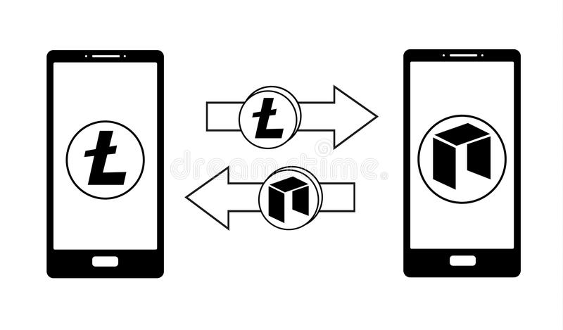 Austausch zwischen litecoin und Neo im Telefon lizenzfreie abbildung