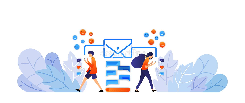 Austauschmitteilungen mit Social Media senden Sie digitale Mitteilungen und Emoticons mit Umschlägen Gespräch durch das Schreiben vektor abbildung