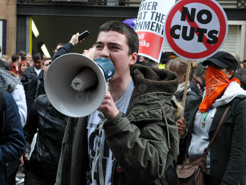 Austerityprotest i London royaltyfri foto