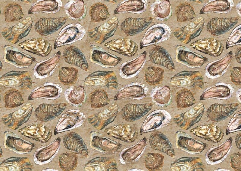 Austern gealterter Papierhintergrund lizenzfreie abbildung