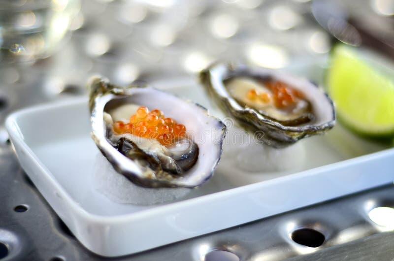 Austern gedient mit Lachsrogen lizenzfreies stockfoto