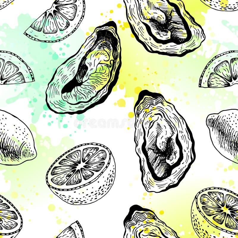 Austern mit nahtlosem Muster der Zitrone lizenzfreie abbildung
