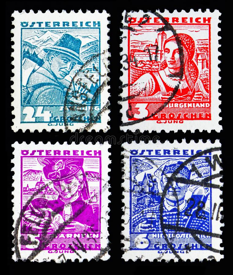 Austian postage stamps from Costumes serie, circa 1934. MOSCOW, RUSSIA - MAY 13, 2018: Postage stamps printed in Austria from Costumes serie, circa 1934 royalty free stock photography