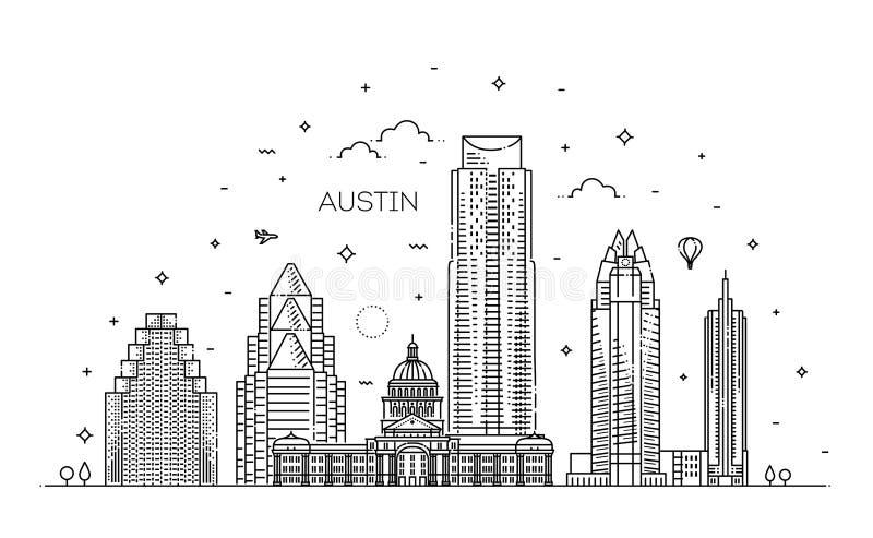Austin arkitekturlinje horisontillustration Linjär vektorcityscape med berömda gränsmärken stock illustrationer