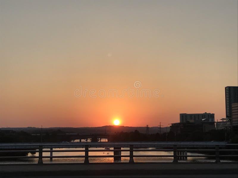 Austin Bat Bridge Sunset fotografia stock libera da diritti