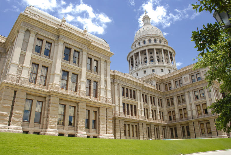 Austin Capitol Building. Capitol Building of Austin, Texas showing some lawn stock photo